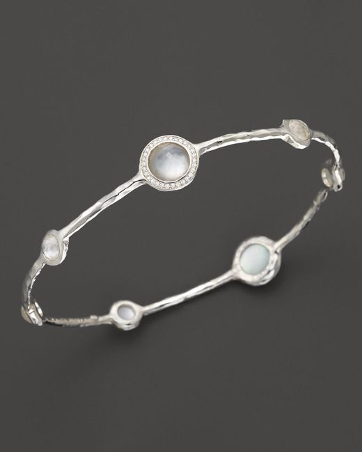 Ippolita | Metallic Sterling Silver Stella 7 Stone Mini Lollipop Bangle In Blue Topaz And Mother-of-pearl Doublet With Diamonds | Lyst
