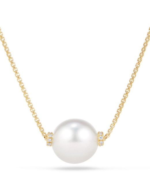 David Yurman - Metallic Solari Single Station Necklace In 18k Gold With Diamonds And South Sea Cultured Pearl - Lyst