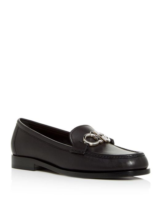 Ferragamo - Black Women's Rolo Reversible Gancini Leather Loafers - Lyst