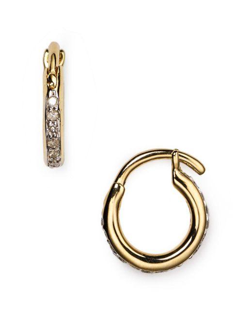 Adina Reyter - Metallic Pavé Huggie Hoop Earrings - Lyst