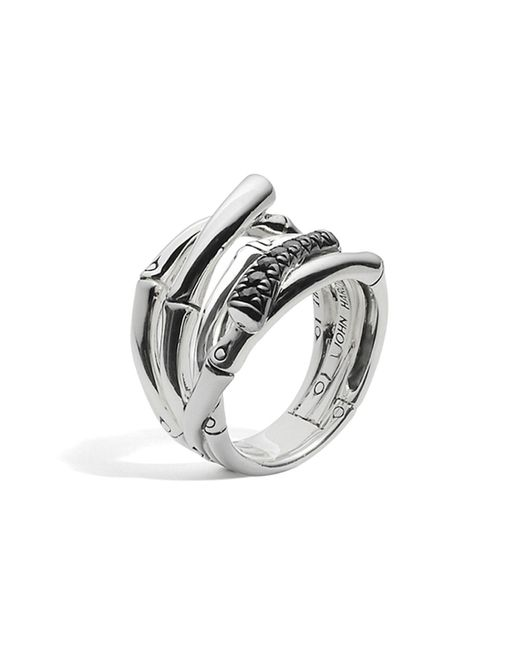 John Hardy | Metallic Women's Sterling Silver Bamboo Lava Wide Ring With Black Sapphires | Lyst