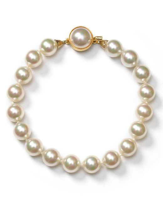 Majorica - White Simulated Pearl Bracelet - Lyst