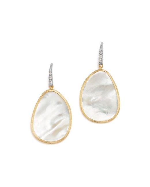 Marco Bicego - 18k White & Yellow Gold Lunaria Mother-of-pearl & Diamond Earrings - Lyst