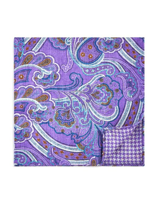 Bloomingdale's - Purple Paisley/houndstooth Pocket Square for Men - Lyst