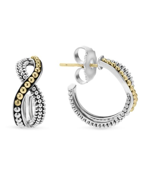 Lagos - Metallic Sterling Silver Hoop Earrings With 18k Gold Caviar Beading - Lyst