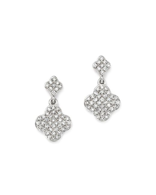 KC Designs - 14k White Gold Diamond Clover Drop Earrings - Lyst