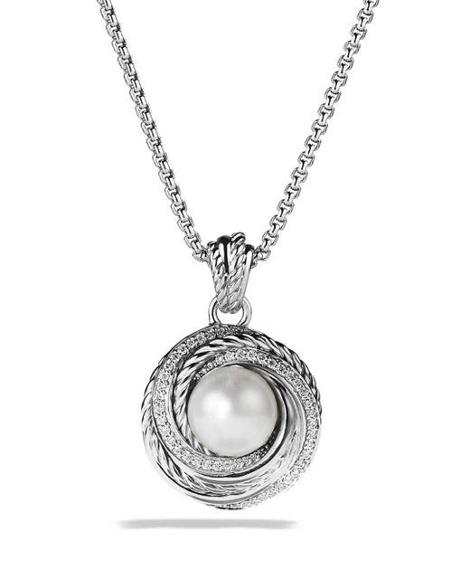 David Yurman - Metallic Pearl Crossover Pendant With Diamonds On Chain - Lyst