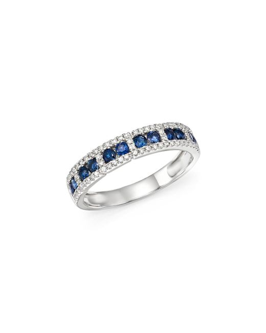 KC Designs | Multicolor 14k White Gold Diamond & Sapphire Stacking Ring | Lyst