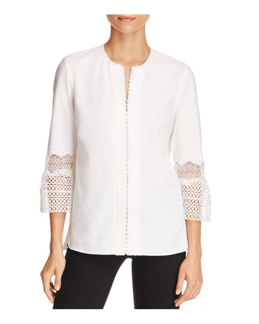 T Tahari | White Anvara Lace Bell Sleeve Blouse | Lyst