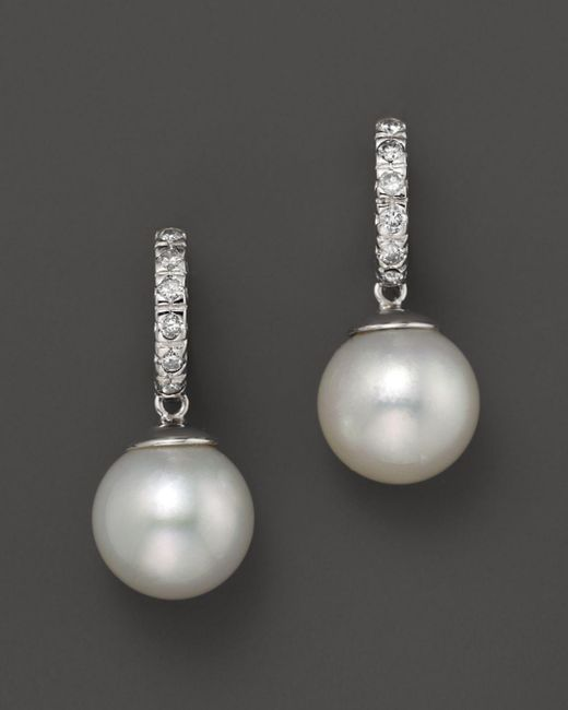 Bloomingdale's - White South Sea Cultured Pearl And Diamond Earrings, 10mm - Lyst