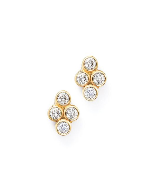 Zoe Chicco | Metallic 14k Yellow Gold Quad Bezel Diamond Stud Earrings | Lyst