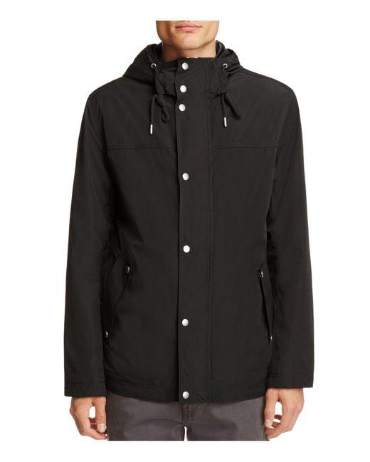 Cole Haan - Black Hooded Rain Jacket for Men - Lyst