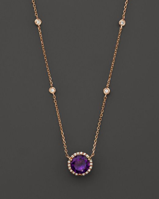 "Bloomingdale's - Metallic Amethyst And Diamond Halo Pendant Necklace With 4 Stations In 14k Rose Gold, 16"" - Lyst"