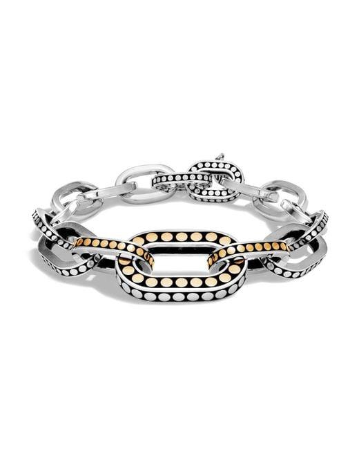 John Hardy   Metallic Sterling Silver And 18k Bonded Gold Dot Graduated Link Bracelet   Lyst