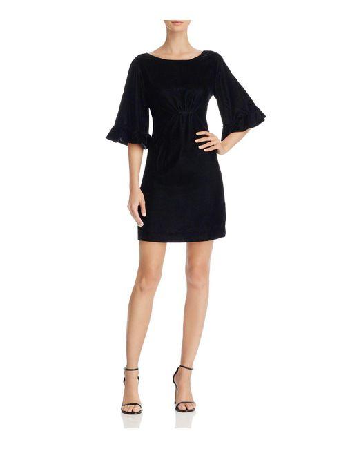 Ella Moss | Black Bell-sleeve Velvet Mini Dress | Lyst