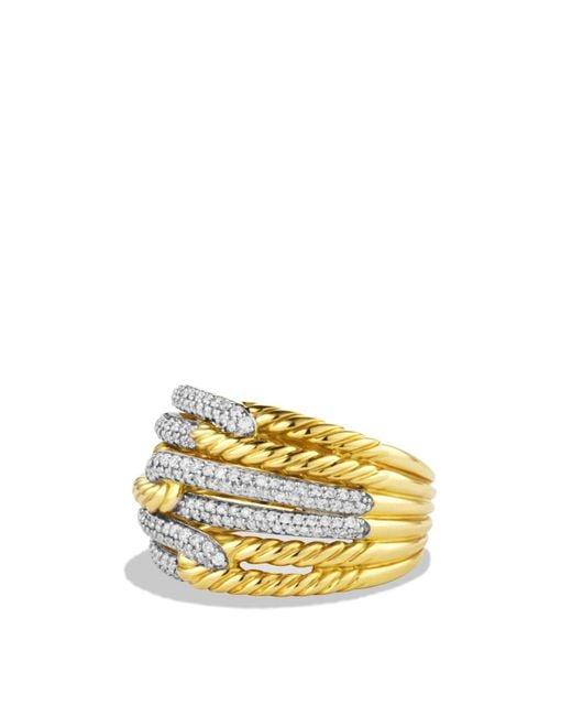 David Yurman - Yellow Labyrinth Triple-loop Ring With Diamonds - Lyst