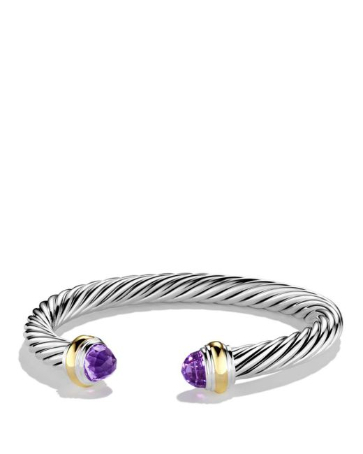 David Yurman - Metallic Cable Classics Bracelet With Amethyst And Gold - Lyst