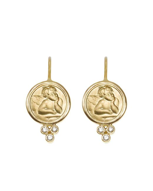 Temple St. Clair - Metallic 18k Yellow Gold Angel Earrings With Diamonds - Lyst