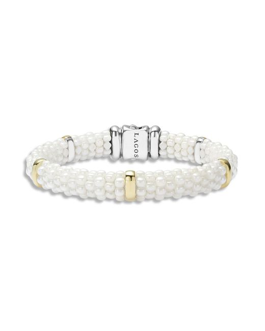 Lagos | White Caviar Ceramic And 18k Gold 5-station Bracelet | Lyst