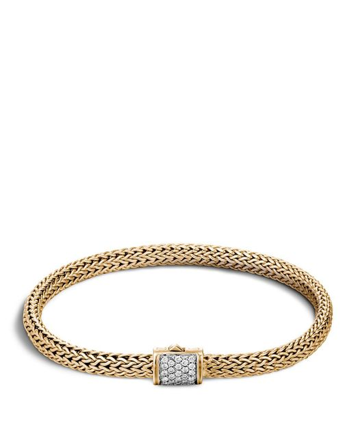 John Hardy | Metallic Classic Chain 18k Gold Extra Small Bracelet With Diamond Pave | Lyst