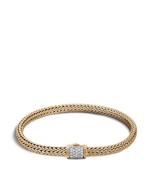 John Hardy | Metallic Classic Chain 18k Gold Extra Small Bracelet With Diamond Pavé | Lyst