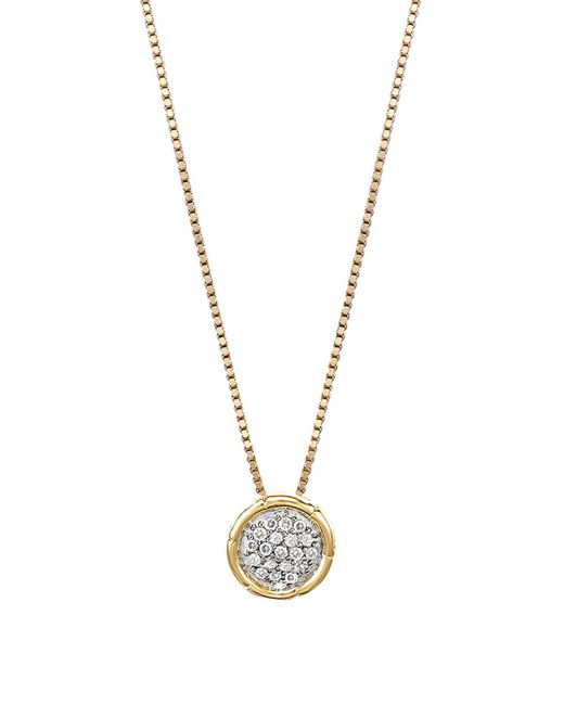 John Hardy | Metallic Bamboo 18k Gold And Diamond Pave Small Round Pendant Necklace, 16"