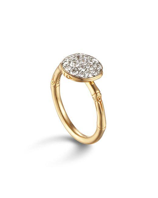 John Hardy   Metallic Bamboo 18k Gold And Diamond Pave Small Round Ring   Lyst
