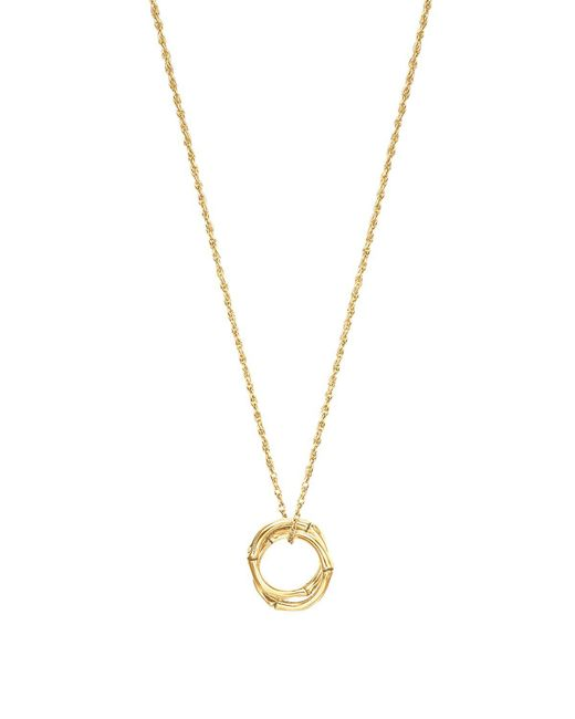 John Hardy | Metallic Bamboo 18k Gold Small Round Interlinking Pendant On Whisper Chain Necklace, 16"