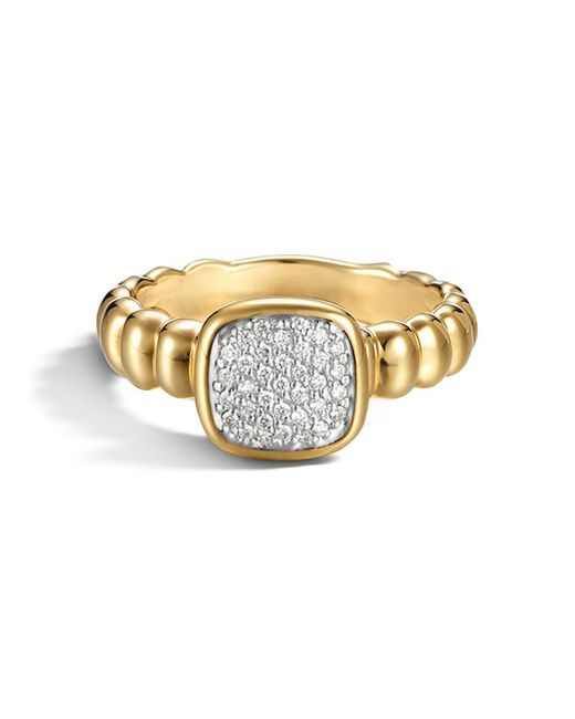 John Hardy | Metallic Bedeg 18k Gold And Diamond Pave Square Station Slim Ring | Lyst