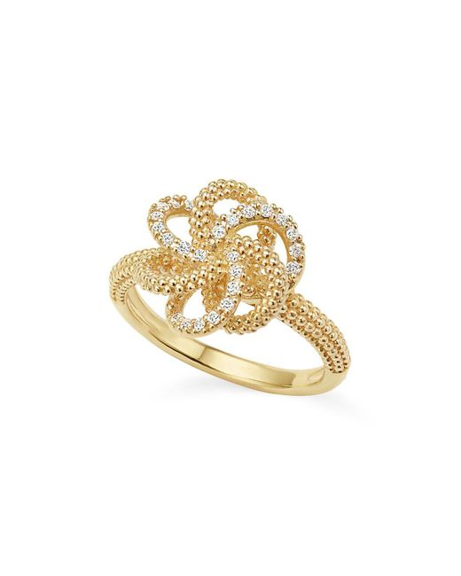 Lagos - White 18k Yellow Gold Love Knot Ring With Diamonds - Lyst