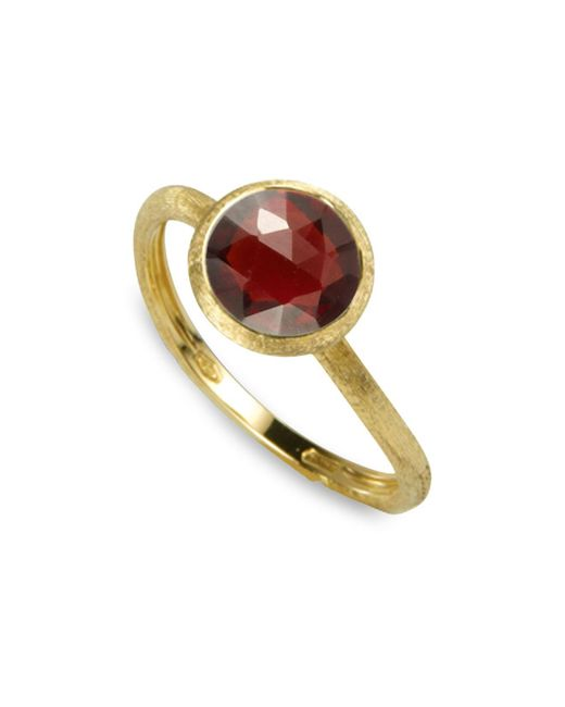 Marco Bicego - Red 18k Yellow Gold Engraved Jaipur Stackable Ring With Garnet - Lyst