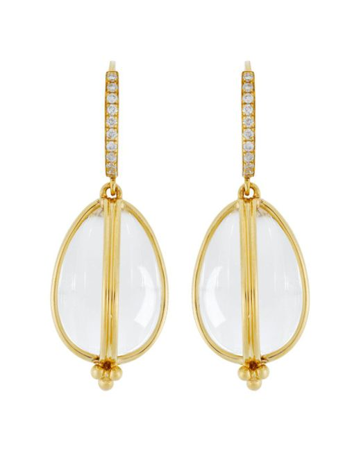 Temple St. Clair - White 18k Yellow Gold Classic Amulet Diamond Pavé Earrings - Lyst