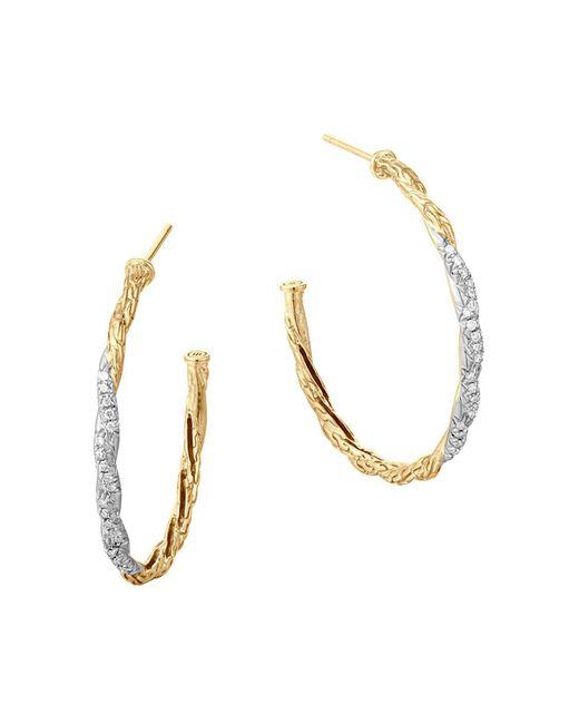 John Hardy | White Classic Chain 18k Gold Diamond Pavé Medium Hoop Earrings | Lyst