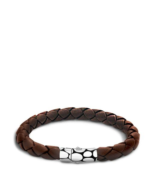 John Hardy | Men's Kali Silver Brown Woven Leather Bracelet for Men | Lyst