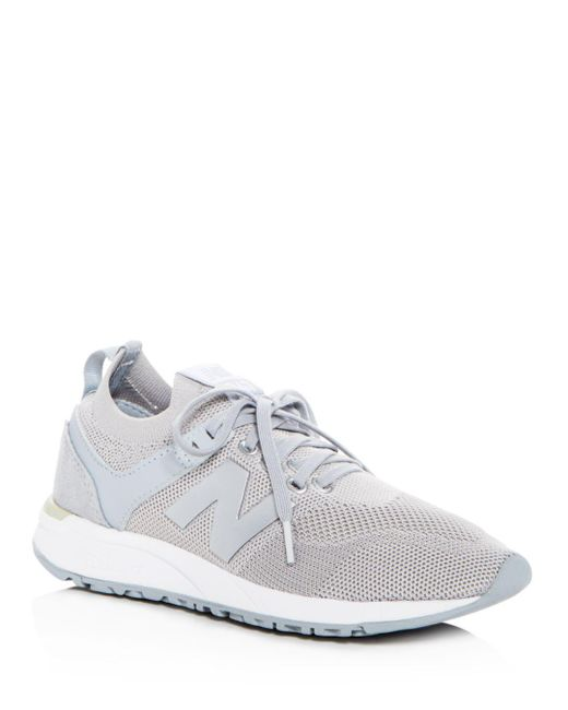 New Balance - Metallic Women's Deconstructed 247 Knit Lace Up Sneakers - Lyst