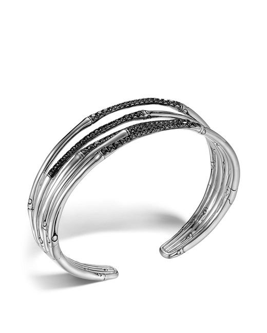 John Hardy - Metallic Bamboo Silver Lava Narrow Flex Cuff With Black Sapphires - Lyst