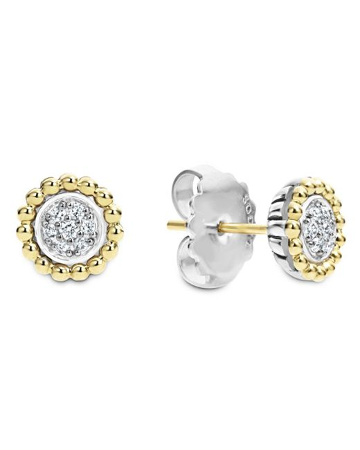 Lagos - Metallic 18k Gold And Diamond Caviar Stud Earrings - Lyst