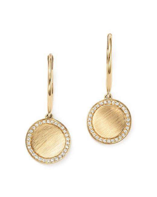KC Designs - Metallic Diamond Disc Drop Earrings In 14k Yellow Gold - Lyst