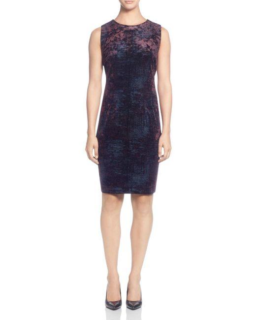 T Tahari - Blue Sleeveless Foil Print Velour Dress - Lyst