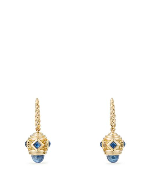 David Yurman - Metallic Renaissance Drop Earrings With Light Blue Sapphire In 18k Gold - Lyst