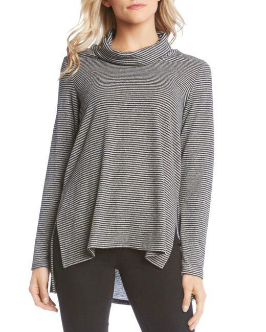 Karen Kane - Gray Striped Cowl-neck Sweater - Lyst
