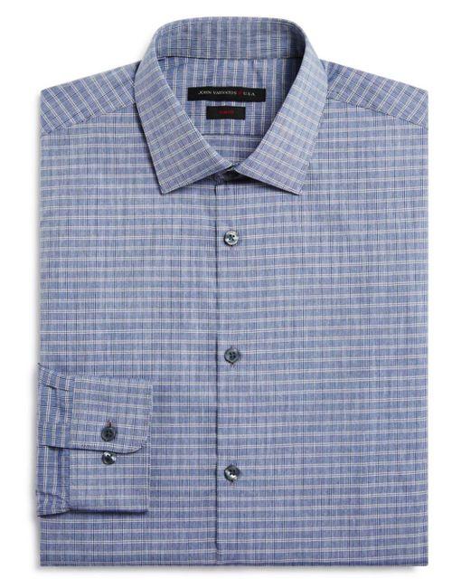 John Varvatos - Gray Grid Check Slim Fit Dress Shirt for Men - Lyst