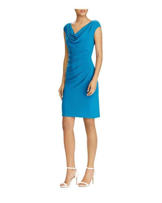 Ralph Lauren | Blue Lauren Cowl-neck Jersey Dress | Lyst