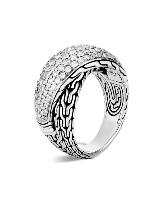 John Hardy - Metallic Sterling Silver Classic Chain Pavé Diamond Arch Crossover Ring - Lyst