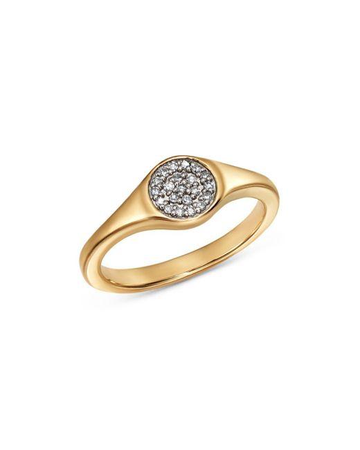 Adina Reyter - Metallic 14k Yellow Gold Pavé Diamond Disc Small Signet Ring - Lyst