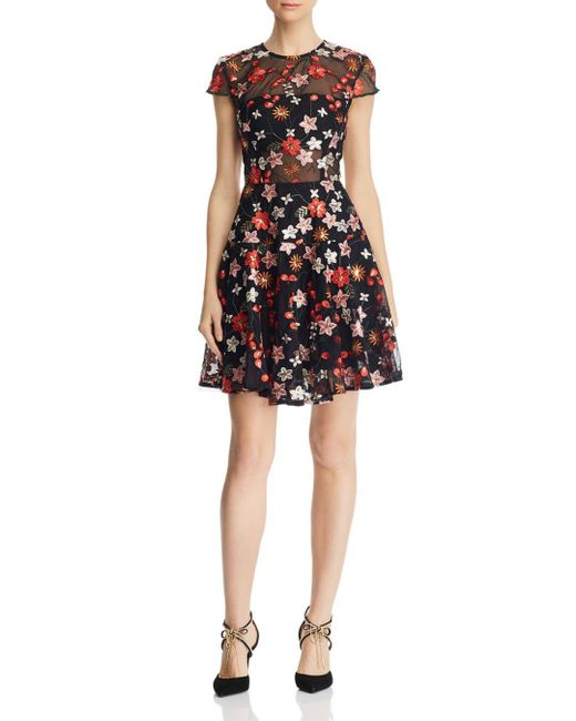 Bronx and Banco - Black Rouge Floral Embroidered Dress - Lyst