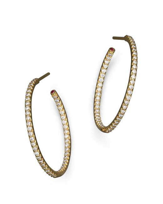 Roberto Coin   18k Yellow Gold Micropave Inside-out Diamond Hoop Earrings   Lyst