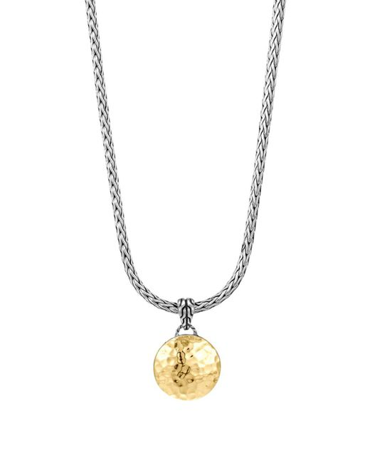 "John Hardy - Metallic Sterling Silver And 18k Gold Palu Round Pendant On Chain Necklace, 16"" - Lyst"