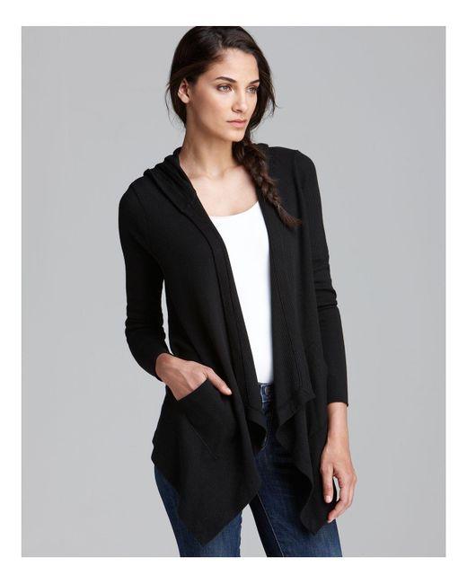 Splendid | Black Cardigan - Hooded Drapey Front Thermal | Lyst
