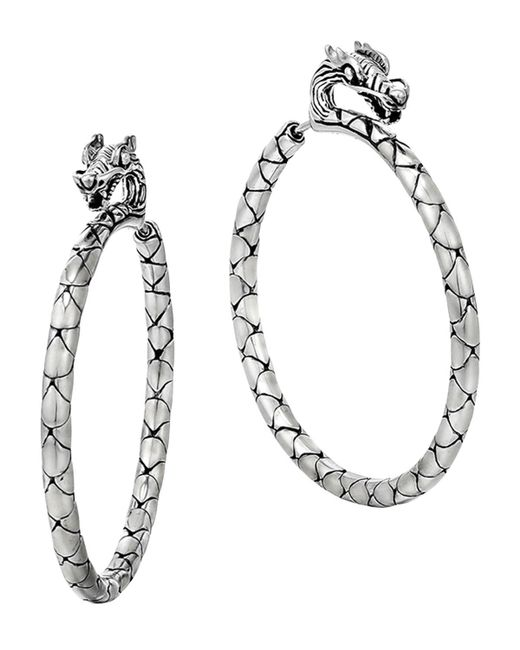 John Hardy | Metallic Naga Silver Medium Hoop Earrings | Lyst